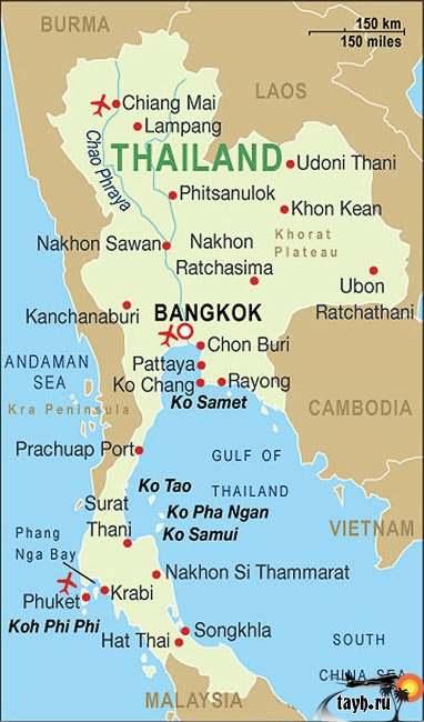 карта Тайланда на русском