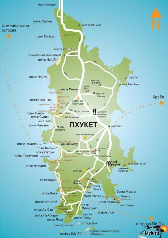 Карта Пхукета на русском с отелями