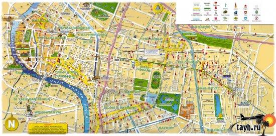 Карта Бангкока с достопримечательностями.Карта Бангкока на русском